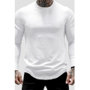 Mens Simple T Shirt Plain Long Sleeve Crew Neck Curved Hem Relaxed T Shirt