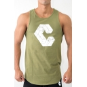 Simple Mens Tank Geo Print Crew Neck Regular Fitted Tank Top