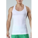 Classic Tank Solid Color Scoop Neck Racerback Slim Fitted Tank Top for Men