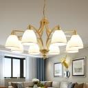 Cream Glass Bell Ceiling Lighting Traditional Living Room Chandelier Light Fixture