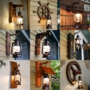 Lantern Balcony Wall Lighting Restoration Wooden 1-Light Bronze Sconce Light Fixture