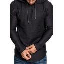 Trendy Men's Hoodie Heathered Long Sleeves Regular Fitted Drawstring Hooded Sweatshirt