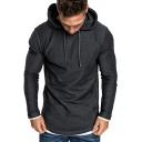 Basic Men's Hoodie Camo Print Long Sleeves Regular Fitted Drawstring Hooded Sweatshirt