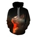 Youthful Men's Hoodie Cat Digital 3D Print Kangaroo Pocket Long Sleeve Drawstring Hooded Sweatshirt