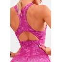 Gym Girls Tank Printed Cut Out Racerback Slim Fit Crop Tank Top in Rose Red