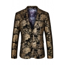 Mens Popular Black and Gold Floral Print Long Sleeve Double Button Vintage Tuxedo Blazer