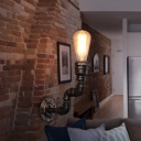 Single-Bulb Wall Sconce Industrial Water Pipe Iron Wall Mount Light Fixture in Bronze