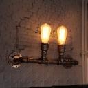 Pipe Restaurant Wall Lighting Ideas Steampunk Wrought Iron 2-Bulb Bronze Wall Mounted Light