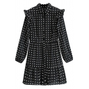Cute Girls Dress Polka Dot Print Long Sleeve Turn Down Collar Ruffled Short A-line Shirt Dress in Black