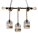 Birdcage Wrought Iron Ceiling Pendant Farm Style Restaurant Hanging Lighting with Rope in Black