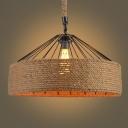 Flaxen Barn Pendant Ceiling Light Farmhouse Hemp Rope 1-Light Garage Suspension Lamp