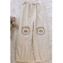 Stylish Women's Pants Paw Embroidered Elastic Waist Corduroy Long Tapered Pants