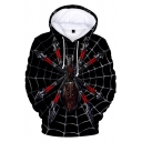 Popular Fashion Spider Web 3D Printed Black Drawstring Hooded Long Sleeve Trendy Loose Hoodie
