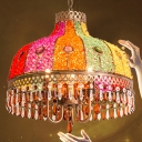 Colorful Glass Cap Shaped Pendant Turkish 1-Light Restaurant Ceiling Hang Light with Crystal Drip