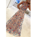 Fancy Women's A-Line Dress All over Floral Print Round Neck Double Layer Sleeveless Long A-Line Dress