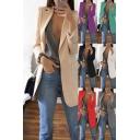 Trendy Women's Suit Jacket Plain Pocket Detail Notched Lapel Collar Long Sleeve Regular Fitted Suit Jacket