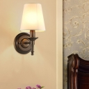 1-Light Wall Lamp Simplicity Bedside Sconce Wall Lighting with Cone Fabric Shade