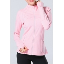 Trendy Women's Jacket Solid Color Zip Fly Long Finger Hole Long Sleeve Slim Fitted Jacket