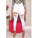 Women's Street Fashion High Rise Distressed Ripped Skinny Fit Jeans