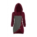 Thickened Ladies' Long Sleeve Button Down Cable Knitted Patched Longline Hoodie Sweater Top