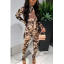 Fashion Womens Jumpsuit Camo Print Long Sleeve Mock Neck Ankle Length Skinny Jumpsuit in Army Green