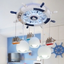Rudder Flush Light Kids Wooden 3-Head White Finish Ceiling Mount Light with Dangling Dome Milk Glass Shade