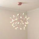 Rose Gold Firefly Suspension Lamp Contemporary 45/63/81-Head Acrylic Chandelier Pendant over Table
