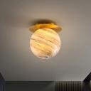 Globe Flush Ceiling Light Contemporary Planet Glass Single-Bulb Corridor Semi Flush Mount Lighting Fixture