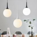 Nordic Globe Shaped Hanging Lamp Ivory Glass Single Restaurant Ceiling Pendant Light