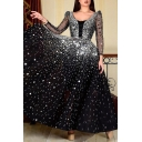 Womens Boutique Dress Sheer Mesh Sequins Decoration Long Sleeve Round Neck Maxi A-line Dress in Black