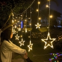 11.4ft White Star LED Fairy Light Modern Plastic Solar String Lighting for Backyard