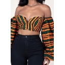 Womens Cool Shirt Checked Stripes Vines Printed Zip Fly Lantern Long Sleeve Off the Shoulder Fitted Cropped Shirt