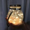 Clear Crackle Glass Jar LED Pendant Light Art Decor Solar Hanging Lamp for Outdoor, 1 Pc