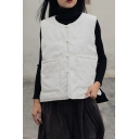 Womens Casual Vest Plain Quilted Frog Button Sleeveless Loose Fit Vest