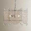 3 Heads Chandelier Pendant Light Vintage Scalloped Crystal Bead Hanging Light in Silver