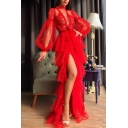 Amazing Red Dress Polka Dot Printed Sheer Mesh Blouson Sleeve Mock Neck High Slit Maxi Flowy Dress for Ladies