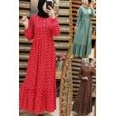Womens Dress National Style Polka Dot Pattern Ruffle Hem Single Breasted Round Neck Slim Long Sleeve Maxi A-Line Swing Dress