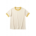 Summer Boys T Shirt Contrasted Short Sleeve Crew Neck Loose Tee Top