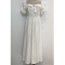 Cute Girls Dress White Ruffled Short Sleeve Criss Cross Bow Tied Front Mid Pleated A-line Dress