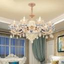 Floweret Bedroom Hanging Chandelier Retro Clear Crystal Living Room Ceiling Light Fixture