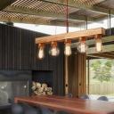 Linear Dining Room Island Lighting Wooden 5 Bulbs Minimalist Pendant Light with Exposed Bulb Design