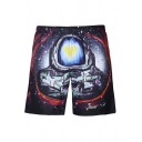 Cool 3D Galaxy Astronaut Print Summer Drawstring Waist Casual Swim Trunks for Men
