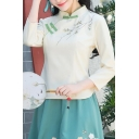 Retro Shirt Flower Embroidery Long Sleeve Mandarin Collar Frog Button Slim Fit Shirt in Beige