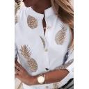 Fancy Women's Shirt Blouse Pineapple Pattern Button Fly Stand Collar Long Sleeve Regular Fitted Shirt Blouse