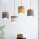Macaron Cylindrical Down Lighting Pendant Metal 1 Head Dining Room Hanging Light with Wood Top
