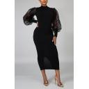 Womens Dress Stylish Mesh Patchwork Long Lantern Sleeve Mock Neck Maxi Bodycon Dress