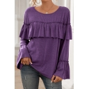 Simple Womens T Shirt Solid Color Bell Sleeve Round Neck Ruffled Trim Loose Fit T Shirt