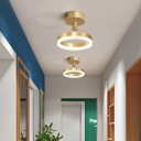 Ring Semi Flush Modern Style Acrylic Gold LED Flush Ceiling Light Fixture for Corridor