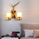 Rustic Antler Wall Sconce Light Resin Wall Mount Lighting in Wood with Cylindrical White Glass Shade
