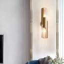 Pole Shaped Bedside Wall Lamp Fixture Crystal Postmodern Style Sconce Light in Gold